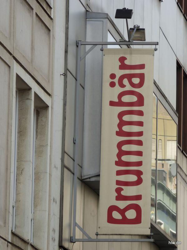 Aussteck-Werbebanner, Brummbär, Spielwaren, Bochum