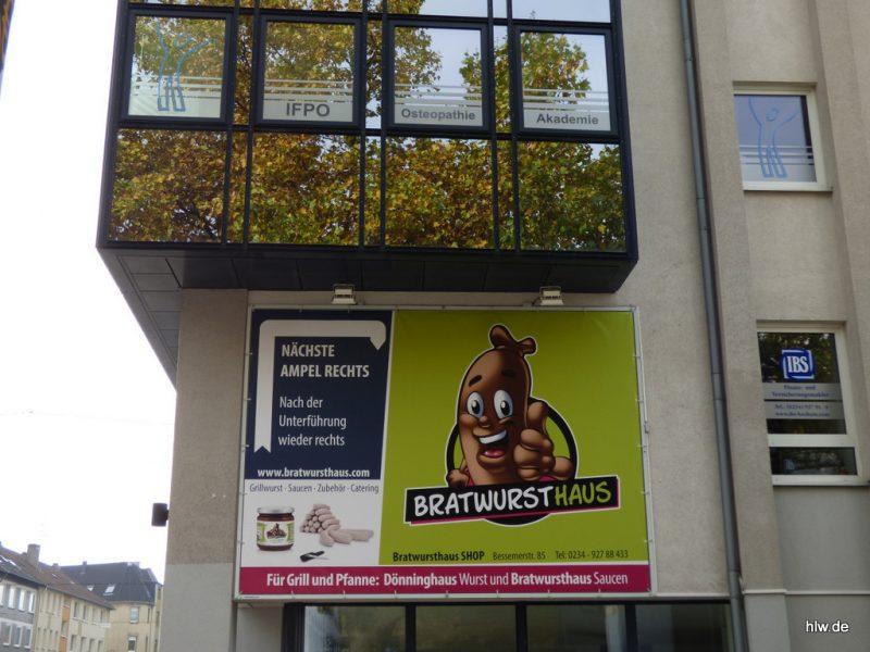Werbebanner, Brautwursthaus Bochum