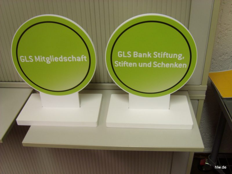 Tisch-Aufsteller GLS Bank