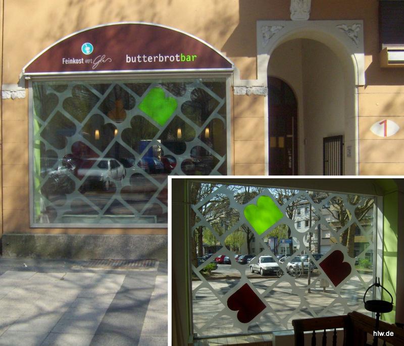 Fenster-Beschriftung, Butterbrotbar in Bochum