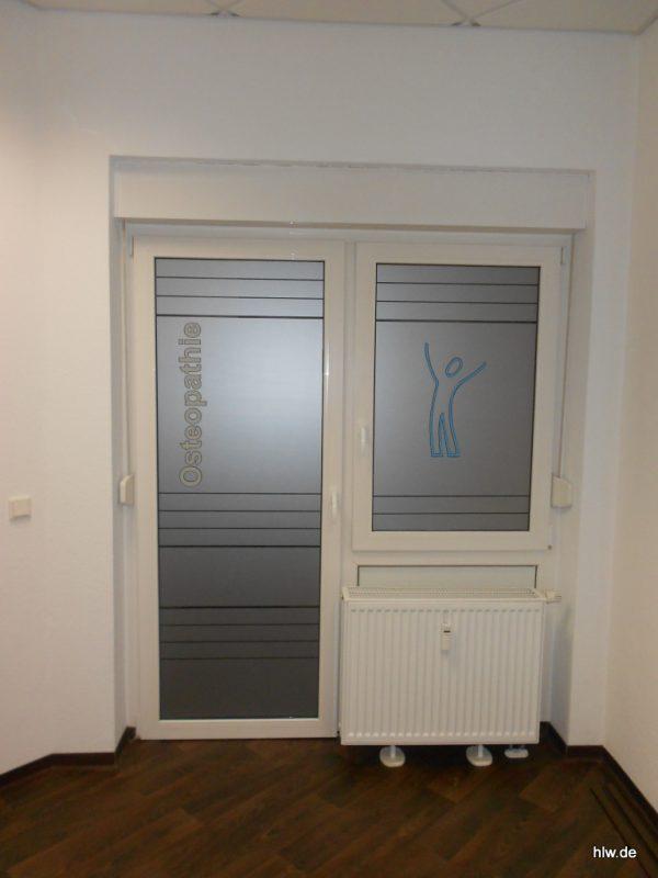 Fenster-Beschriftung, IFPO, Osteopathie, Bochum