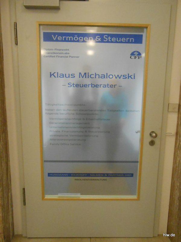 Tür-Beschriftung, Kanzlei Michalowski in Bochum