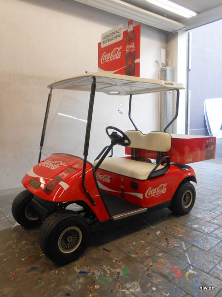Golf-Caddy Beschriftung, Coca-Cola