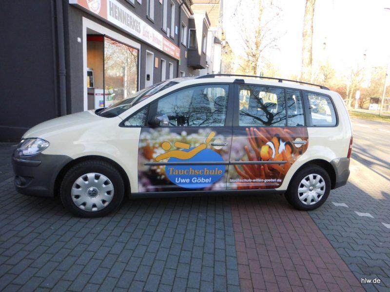 Fahrzeug-Beschriftung mit Digitaldruck, Auto Beschriftung, Tauchschule Göbel, Bochum, Essen, Hattingen, Ruhrgebiet, Fahrzeugbeschriftung