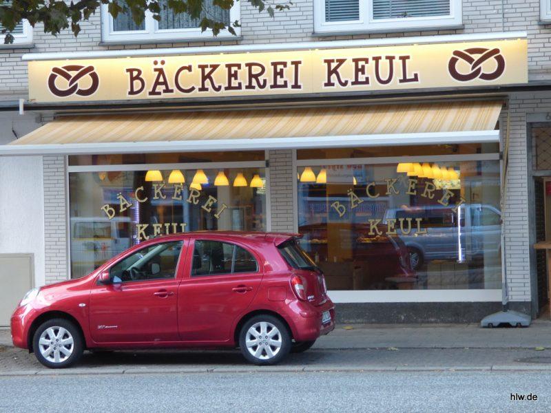 Anstrahl-Werbeschild mit LED-Lichtleiste, Bäckerei Bochum