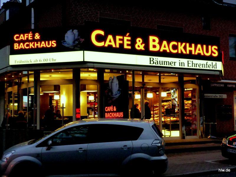 LED-Buchstaben mit Grundplatte, Bochum, Bäckerei, Café, Ehrenfeld, Backhaus