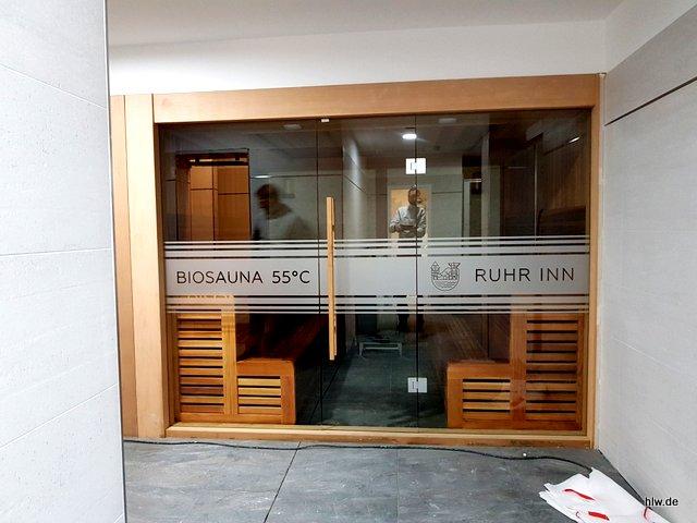 Folienbeschriftung Sauna
